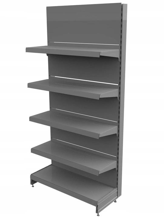 Regał sklepowy metalowy MAGO przyścienny H-210 cm, L-100 cm, G-37 cm, 4×37 cm