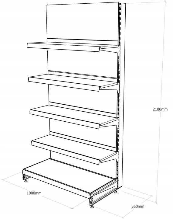 Regał sklepowy metalowy MAGO przyścienny H-210 cm, L-100 cm, G-47 cm, 4×37 cm