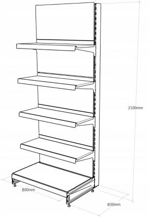 Regał sklepowy metalowy MAGO przyścienny H-210 cm, L-80 cm, G-47 cm, 4×47 cm