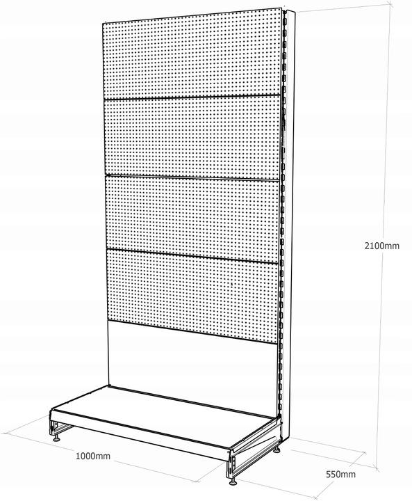 Regał sklepowy metalowy MAGO perforowany  H-210 cm, L-100 cm, G-47 cm