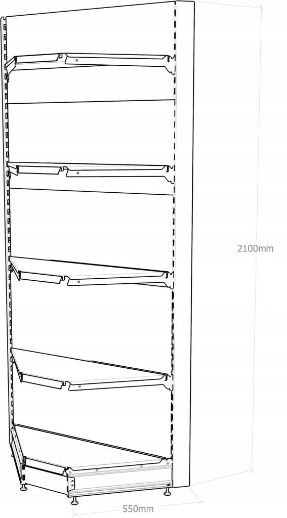 Regał sklepowy metalowy MAGO narożnikowy H-210 cm, L-90 cm, G-47 cm 4×37 cm