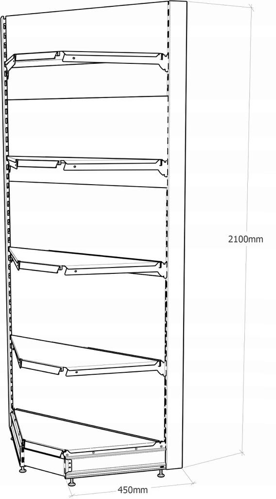 Regał sklepowy metalowy MAGO narożnikowy H-210 cm, L-90 cm, G-37 cm 4×37 cm