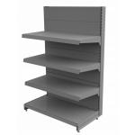 Regał sklepowy metalowy MAGO szczytowy H-150 cm, L-100 cm, G-37 cm, 3×37 cm